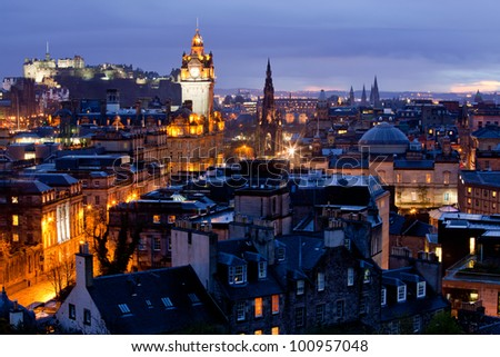 Edinburgh Cityscape and castle from Calton Hill at dusk Scotland UK
