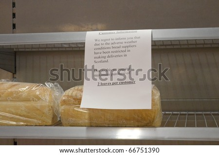 EDINBURGH - DECEMBER 7: a sign warns customers of limited stocks of bread at an Asda Walmart superstore on December 7th, 2010 in Edinburgh, Scotland. Deliveries are being disrupted due to the weather.
