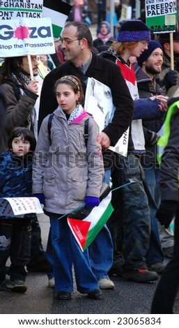 EDINBURGH - JANUARY 10: A girl participates in the anti-Israel rally January 10th, 2009 in Edinburgh, Scotland.