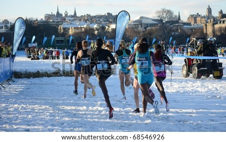 EDINBURGH - JANUARY 8: athletes compete in the womens international and Scottish inter-district race of the Bupa Great Edinburgh Cross Country event on January 8, 2011 in Edinburgh, Scotland.