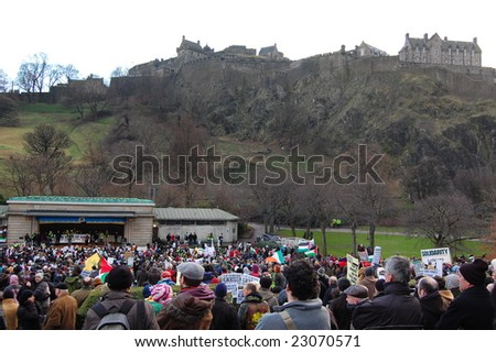 EDINBURGH - JANUARY 10: The anti-Israel rally takes place in Princes Street Gardens, overlooked by Edinburgh Castle January 10th, 2009 in Edinburgh, Scotland.
