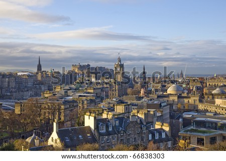Edinburgh panorama, view Edinburgh city from Calton Hill.