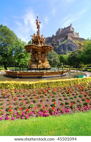 Edinburgh park fountain and castle