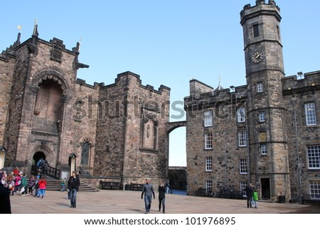 EDINBURGH, SCOTLAND - APRIL 19: Edinburgh Castle, Scotland's most visited paid tourist attraction on April 19, 2012 in Edinburgh, Scotland.