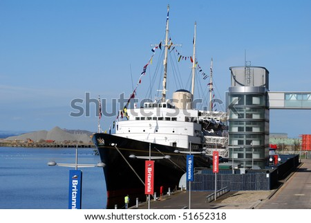 EDINBURGH, SCOTLAND - APRIL 18: The Royal Yacht Britannia is now open to visitors at Leith Basin, Edinburgh. April 18, 2010 in Edinburgh, Scotland.