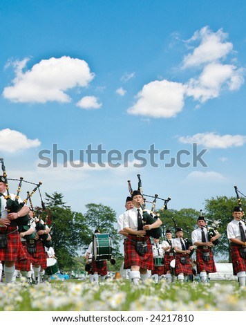 Edinburgh, Scotland - June 18, 2005 - Scottish bagpipers parade