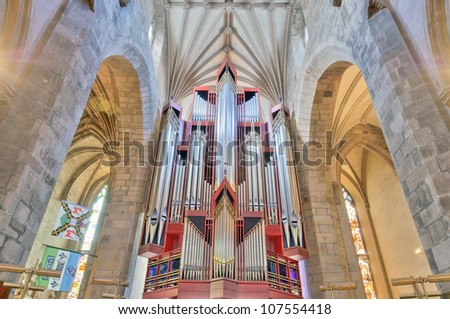 EDINBURGH, SCOTLAND - MAY 8: Modern church organ in St Giles\' Cathedral in Edinburgh, the mother church of world presbyterianism, May 8, 2012 in Edinburgh