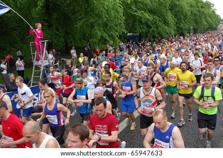 EDINBURGH, SCOTLAND, UK - MAY 23: Runners start  the Edinburgh Marathon , May 23, 2010 in Edinburgh, UK