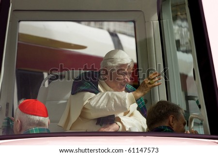 EDINBURGH, SCOTLAND, UK - SEPTEMBER 16: Pope Benedict XVI in his popemobile travels through Princess St. on September 16, 2010 in Edinburgh, Scotland, United Kingdom. On his way to Archbishop House.