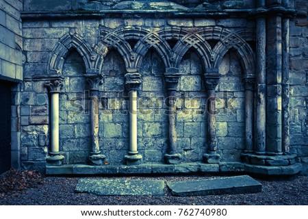 EDINBURGH, SCOTLAND/ UNITED KINGDOM - OCTOBER 22, 2017: The ruins of the Augustinian Holyrood Abbey