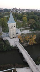 Edirne tower of justice drone shot