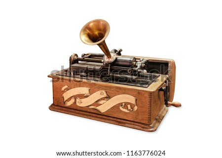 Edison gramophone on white background #1163776024