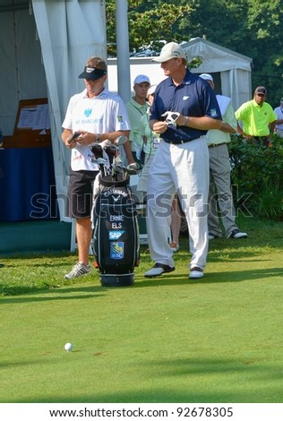 EDISON,NJ-AUGUST 26: Golfer Ernie Els at the 10th tee during the second round of the Barclays Tournament held at the Plainfield Country Club on August 26, 2011 in Edison, N.J.