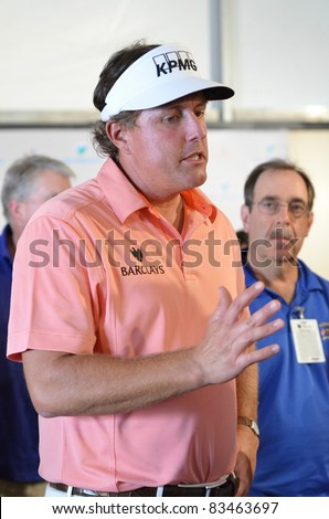 EDISON, NJ-AUGUST 24: Golfer Phil Mickelson answers questions from the press at the Barclays 2011 Pre-tournament press conference in Edison, NJ on Aug. 24, 2011