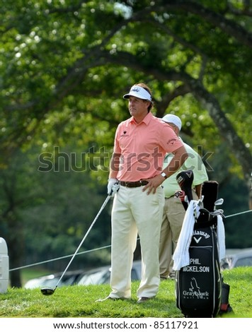EDISON,NJ-AUGUST 24: Golfer Phil Mickelson waits to tee off during the Barclays pro-am held at the Plainfield Country Club on August 24,2011 in Edison,NJ.