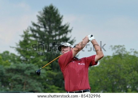 EDISON,NJ-AUGUST 26: Golfer Steve Stricker watches his shot during the second round of the Barclays Tournament held at the Plainfield Country Club on August 26,2011 in Edison,NJ.