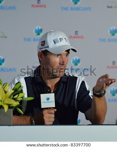 EDISON,NJ-AUGUST 23: Padraig Harrington answers questions from the press at the Barclays 2011 Pre-tournament press conference. Edison, NJ, August 23, 2011