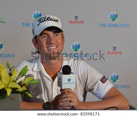 EDISON,NJ-AUGUST 23: Webb Simpson answers questions from the press at the Barclays 2011 Pre-tournament press conference. Edison, NJ, August 23, 2011