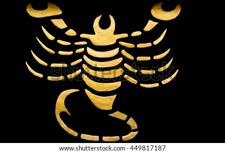 Edit background by software/The Scorpio sign of horoscope on the wall temple
