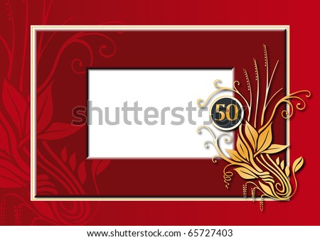 Editable illustration of a red and golden congratulations card for 50 th anniversary, jubilee, wedding or birthday - stock photo