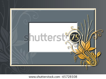 Editable illustration of a red and golden congratulations card for 75th anniversary, jubilee or birthday