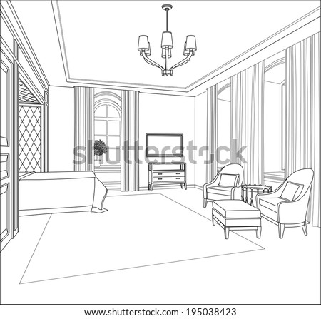 Editable illustration of an outline sketch of a interior 3D Graphical drawing interior