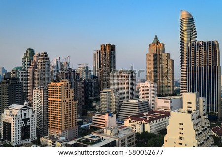 Editorial: Bangkok City, Thailand, 16th February 2017. Bangkok City has city of business and communication in the morning with sunrise at Siam Bangkok Thailand. #580052677