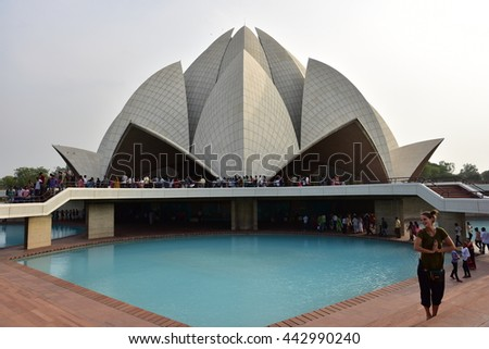 Editorial:JUNE 25th,2016:The Lotus Temple, located in New Delhi, India, is a Bahai  Worship House built in 1986.Notable for its flowerlike shape, it serves as Mother Temple of the Indian subcontinent