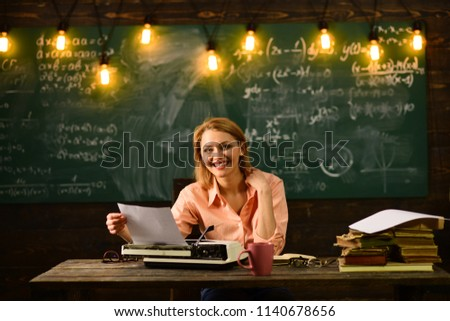 editorial office. editorial office manager works with documents. woman secretary works at editorial office - Shutterstock ID 1140678656