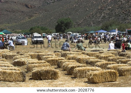 Editorial, rural farm community having a get together - stock photo