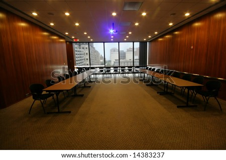 Editorial Use Only: Empty Conference Room (Release Information: Editorial Use Only. Use of this image in advertising or for promotional purposes is prohibited.)