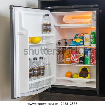 Editorial use only; hotel fridge interior, taken at Pattaya, Thailand, on November 2nd, 2017.