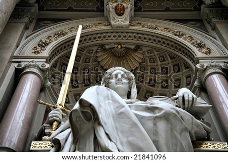 Editorial Use Only: Lady Justice Wielding a Golden Sword in the Austrian Hall of Justice, Vienna, Austria