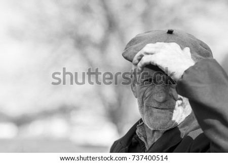 Editorial use. People of Danube Delta in Romania are living in remote villages, facing hard life conditions. However, they are positive and optimistic. Image of a local old man from Mila 23, 04.2015.