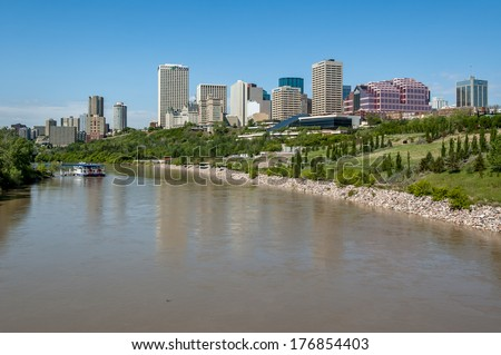 EDMONTON, AB, CANADA - MAY 29: The Saskatchewan River valley and skyline on May 29, 2008 in Edmonton, Alberta Canada. The river in the foreground and skyline in the background.