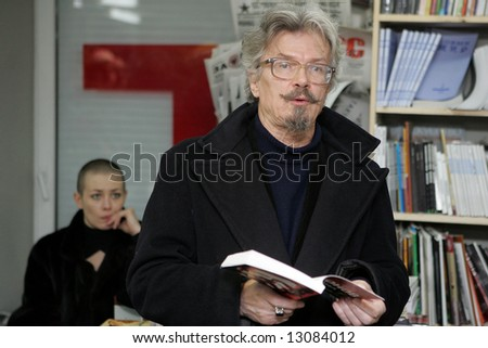 Eduard Limonov, a Russian nationalist writer and opposition leader, presents his book against the Russian President Putin\'s inner policy at a bookstore in Moscow on February 7, 2006.