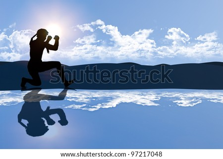 Educated Thai male boxer student is praticing master action in the morning light as seen as silhoulette shape with highland background and skies reflected on foreground created with computer graphic