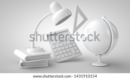 Education and back to school concept stationery 3d rendering monochromatic background