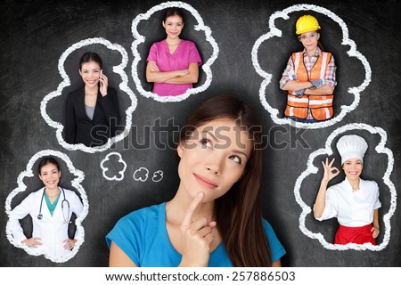 Education and career choice options - student thinking of future. Young Asian woman contemplating career options smiling looking up at thought bubbles on a blackboard with different professions #257886503