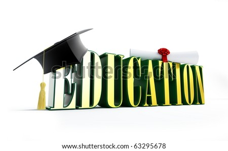education and graduation cap isolated on a white background