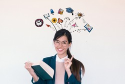 Education and graduation Concept. Young asian woman college student holding her books smiling with education and learning illustration doodles background