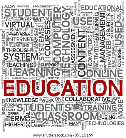 Education and learning concept in tag cloud on white background