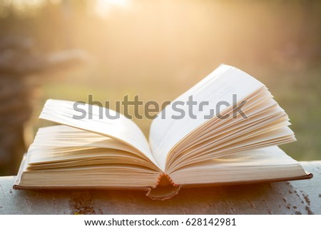 Education and wisdom concept - open book under sunlight outdoors #628142981