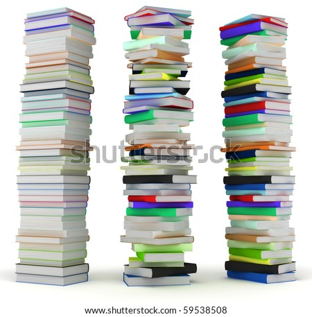 Education and wisdom. Tall heaps of hardcovered books isolated over white. Extralarge resolution