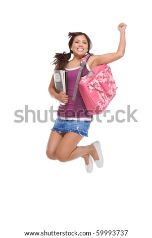 education back to school series - Friendly ethnic Latina woman high school student with backpack and composition book in jeans skirt jumping in excitement