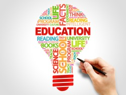 EDUCATION bulb word cloud collage, education concept background