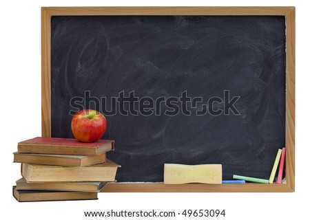 education concept - blank blackboard with white chalk texture, red apple on a stack of old textbooks, sponge eraser, color chalk, isolated on white with clipping path