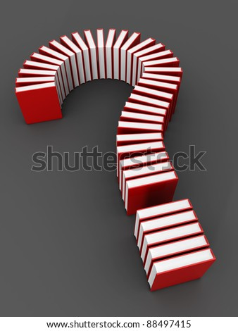 Education concept book formed a question mark 3d illustration