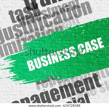Education Concept: Business Case on the White Wall Background with Word Cloud Around It. Business Case - on the White Wall with Word Cloud Around. Modern Illustration.