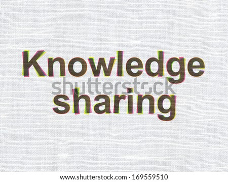Education concept: CMYK Knowledge Sharing on linen fabric texture background, 3d render